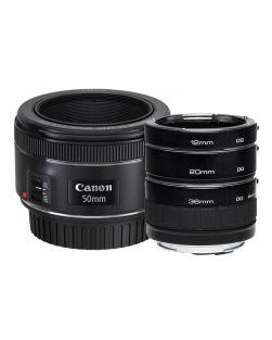 Canon 50mm f1.8 STM EF Lens & Kenko Macro Extension Tube Set