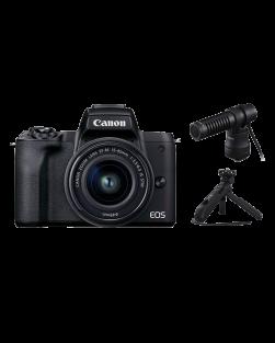 Canon EOS M50 Mark II Mirrorless Camera, 15-45mm EF-M Lens, DM-E100 Microphone & HG-100TBR Tripod Grip (Black)