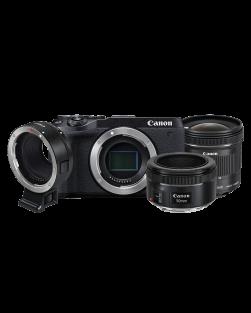Canon EOS M6 Mark II Mirrorless Camera, EF - EFM Lens Adapter, 50mm f1.8 STM EF & 10-18mm STM EF-S Exclusive Kit