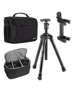 Velbon UT-3AR Travel Kit (UT-3AR tripod, Smartphone/GoPro Camera adapter, Tamrac Jazz 50 bag)