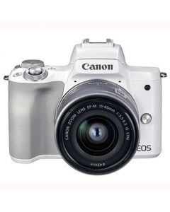 Canon EOS M50 Mark II Mirrorless Camera & 15-45mm EF-M Lens (White)