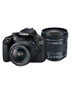 Canon EOS 2000D DSLR Camera, 18-55mm IS II & 10-18mm IS STM Lens Kit