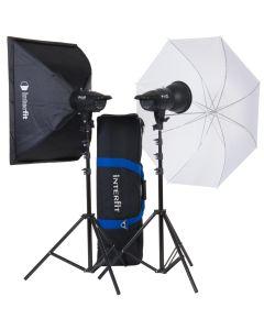 Interfit F121 2 x 200w Head Softbox & Umbrella Studio Flash Kit