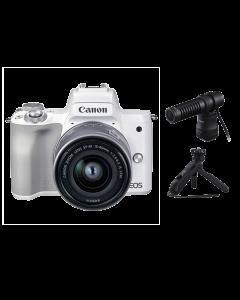 Canon EOS M50 Mark II Mirrorless Camera, 15-45mm EF-M Lens, DM-E100 Microphone & HG-100TBR Tripod Grip (White)