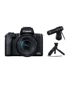 Canon EOS M50 Mark II Mirrorless Camera, 18-150mm EF-M Lens, DM-E100 Microphone & HG-100TBR Tripod Grip (Black)