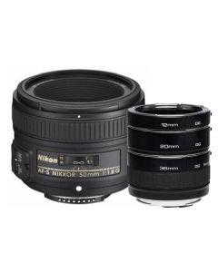 Nikon 50mm f1.8G AF-S NIKKOR Lens & Kenko Macro Extension Tube Set