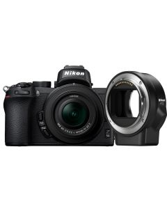 Refurbished Nikon Z50 Mirrorless Camera, 16-50mm VR NIKKOR Z DX Lens & FTZ Mount Adapter