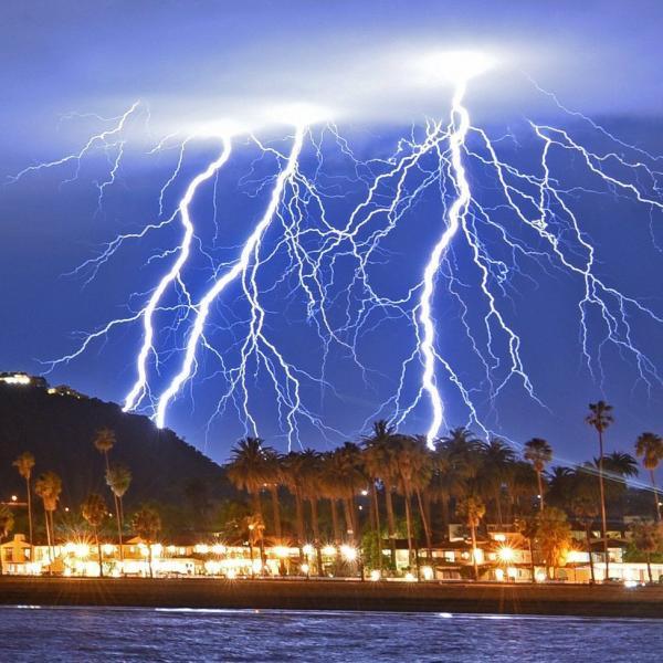Thunderstorms light up California skies