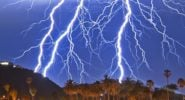 Thunderstorms light up California skies